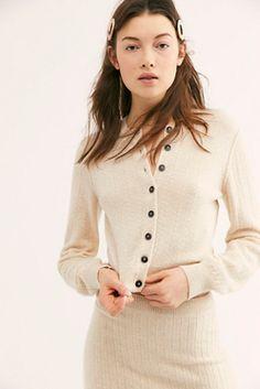 Everyday Cashmere Cardi - Cream Cashmere Button Front Cardigan - Cream Short Cardigan - Short Cashmere Cardigan - Cashmere Sweaters