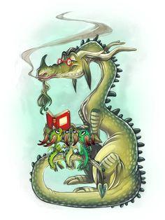 Reading is important! The Reading Dragon Fantasy Dragon, Dragon Art, Fantasy Art, Magical Creatures, Fantasy Creatures, Book Art, Dragon's Lair, Cute Dragons, Sword And Sorcery