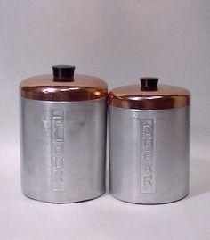 Vintage Italian Aluminum Cannister Pair by Lifeinmommatone on Etsy, $20.00