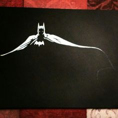 Charcoal Drawing Technique Quick white charcoal Batman sketch on black paper. Charcoal Sketch, Charcoal Art, White Charcoal, Charcoal Drawings, Sketchbook Drawings, Cool Drawings, Sketching, Drawing Skills, Drawing Techniques