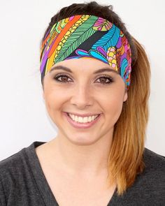 Colorful Feathers | Fitness headband | Yoga headband | Running headband | Crossfit headband | Workout headband | Wide |  Buy 5, Get 1 FREE!