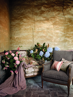 Comfortable chairs and florals on a luxurious patio. Featuring fabric from the @Lizzo Botanical Collection   Lizzo.net