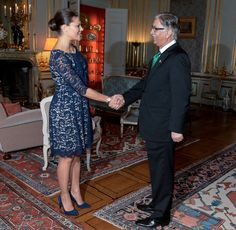 24 October 2014 - Crown Princess Victoria meets the Chairman of the Senate of Pakistan at the Royal Palace - dress by Erdem
