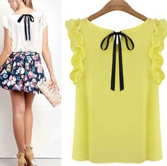 Fashion Women Summer Loose Casual Chiffon Sleeveless Vest Shirt Tops Blouse
