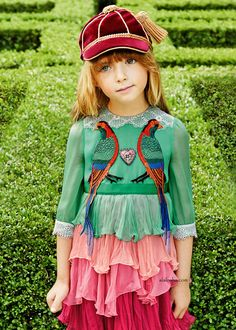 ALALOSHA: VOGUE ENFANTS: Must Have of the Day: Girls gorgeous green and pink luxury dress made in silk chiffon by Gucci SS'17