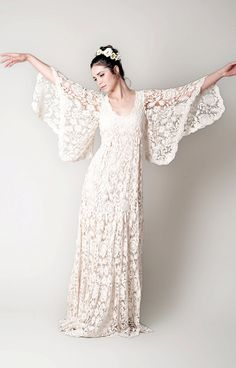 Exude bohemian charm in this ornate French lace gown that was inspired by the 60s. Finished off with lace sleeves and lightly tiered floor length skirt, this dress is perfect for the free-spirited bride. As a guideline to making your gown, please send us your measurements for bust, waist,