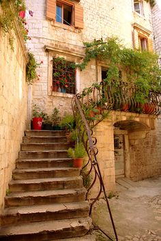 Narrow alleys and tunnels, Trogir, Croatia. Trogir is a historic town and harbor on the Adriatic coast in Split-Dalmatia County.
