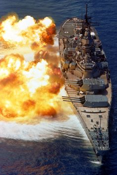 Real naval gunfire support--No longer available. Full broadside. USS Iowa.