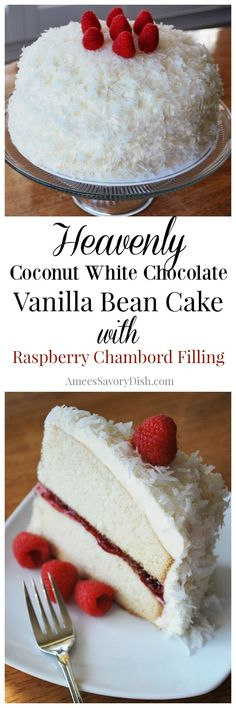 A moist recipe for vanilla bean cake with raspberry chambord filling and topped with a decadent white chocolate buttercream from Amee's Savory Dish