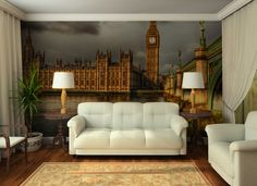 Wall ‪murals‬ can dramatically change a room by adding character and dimension. --> http://www.inkshuffle.com/Westminster_Palace_on_a_golden_morning-1580198000