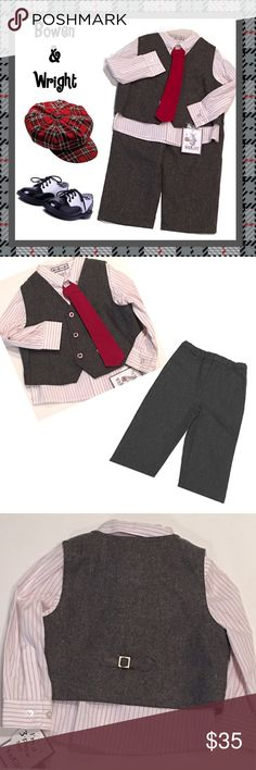 BOWEN & WRIGHT Toddler Boy's 3-Pce Set 24 Mos. NWT Brand new with tags, 3-piece Bowen & Wright toddler boy's gray vest, trousers, and red & white pinstriped shirt with attached tie, size 24 months. Bowen & Wright Matching Sets