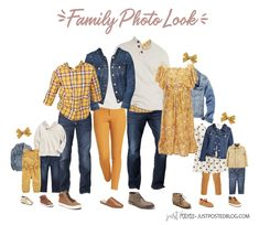 family photo outfits Mustard Yellow, Navy and Cream make up this picture perfect family look for a fall or winter family photo. This link has 8 different options for what to wear f Fall Family Picture Outfits, Spring Family Pictures, Family Pictures What To Wear, Family Picture Colors, Family Portrait Outfits, Winter Family Photos, Large Family Photos, Family Christmas Pictures, Picture Ideas