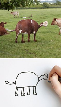 Dad Shows What Kid's Drawings Would Look Like In Real Life And They're TERRIFYING Cheezburger Image 9206488064 Cuisine pour les enfants: GoVerdure pour les enfants – mon# Les dents # enfants Funny Photos Of People, Funny People, Funny Animal Pictures, Funny Animals, Funny Fails, Funny Memes, Funny Shit, Funny Stuff, Funny Quotes