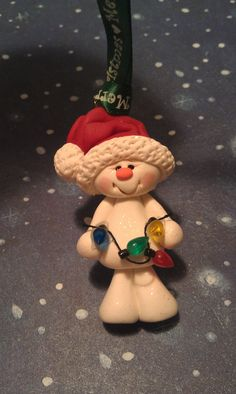 Polymer Clay SNOWMAN with Lights Ornament