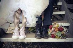 Black tights with converse under wedding dress