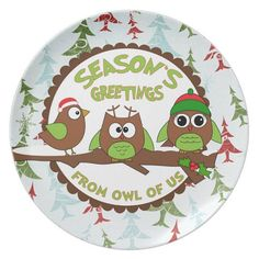 Christmas Trees And Owl Winter Decoration Holiday Melamine Plate Cookies For Santa Custom Made Personalized | PrecisionSandP - Housewares on ArtFire