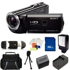 Sony Camera: Sony HDR-PJ380 Full HD 16GB Camcorder (Black) with 32GB SD, Reader, Extended Life Replacement Battery, Charger, LED Video Light, Case - SSE Accessory Kit.