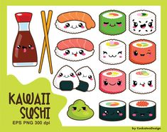 50%OFF SALE, Kawaii clipart, kawaii sushi clipart, cute sushi clipart, sushi clipart, kawaii food clipart, cute food clipart, commercial use