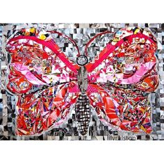 """""""Butterfly Love""""  - recycled magazine paper mosaic"""