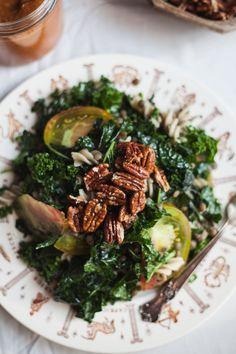 life changing kale lentil pasta salad with maple pecans #vegan