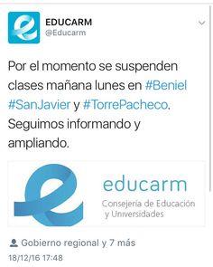 #ÚltimaHora: suspendidas las #clases mañana en #Beniel #SanJavier y #Torrepacheco #Murcia debido a las fuertes #lluvias