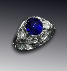 14K white gold Sapphire and diamonds ring by SimplyUniqueJD, $7595.00