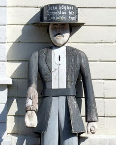 The wooden poorboy (vaivaisukko in Finnish) by the Belfry of Haukipudas Church. Helsinki, Finland, Russia, Countries