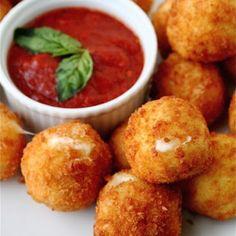 mozzarella balls with tomato basil sauce