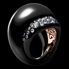 Love Love LOVE This Fabulous Ring!!! De Grisogono - BOCCA Collection - White gold ring with black nano-ceramic coating - white diamonds