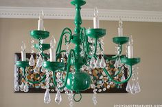 DIY Lighting Ideas – Light Fixtures, Lamps, and more! – Do it YourSelf Interior Design Vintage Chandelier, Upcycled Vintage, Chandelier Makeover, Painted Rug, Mason Jar Chandelier, Light, Diy Entryway, Diy Chandelier, Diy Lighting