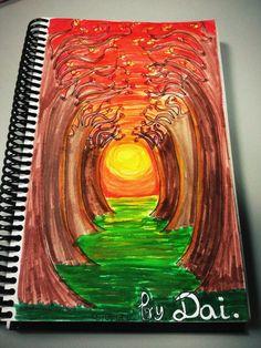 Orange sunset. 05/06/2012. Cosas que hago en papel para relajarme.