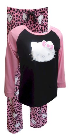 Hello Kitty Pink Leopard Pajama Set.  Would like this for Christmas!