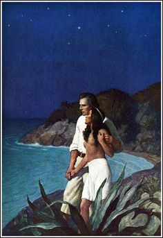 Wyeth The Bounty Trilogy by Charles Nordhoff and James Norman Hall Published by Little Brown & Co ~ 1940 Jamie Wyeth, Andrew Wyeth, Illustrations, Illustration Art, Couple Illustration, Nc Wyeth, Sailboat Art, American Artists, Art Reference