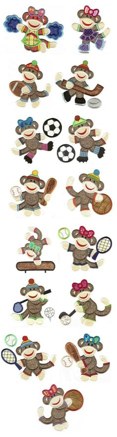 Sock Monkey Sports Applique design set available for instant download at www.designsbyjuju.com