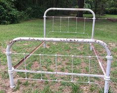 Antique Cast Iron Bed, Full Size Bed Frame, Farmhouse Decor, Shabby Chic, Primitive