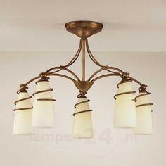 5-lichts plafondlamp Daniele, antiek messing 6059294