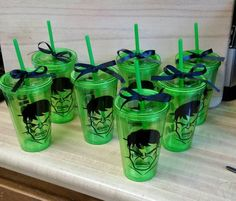 Set of 7 Hulk Tumbler Cup Personalized Hulk Party, Superhero Party, Avenger Party, Hulk Birthday Parties, Birthday Party Decorations, 5th Birthday, Avengers Birthday, Birthday Invitations Kids, The Incredibles