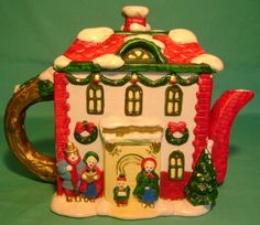 Charming Figural Christmas Decorated House Teapot | eBay