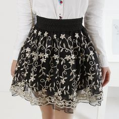 tulle skirts for women | summer women elegance embroidery Ball Gown chiffon tulle lace skirt ...