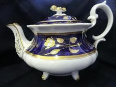 Victorian Footed Alcock Teapot, Navy Ground with White and Gold Roses, Gilt Flower Finial and Trim