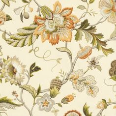 Jacobean florals are so fun to look at, and then get closer and look again. Augustine amber, fabric.