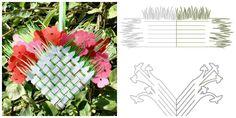 Плетеная корзинка с цветами из бумаги
