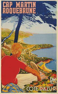 Rebroin-Tack Cap Martin Roquebrune - Côte d'Azur - PLM - Chemins de fer de Paris à Lyon et à la Méditerranée, ca.1940