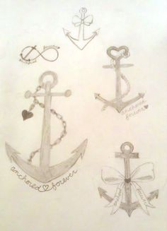 anchor tattoo sketches - never realized all the symbolism associated with anchors until I started researching for tattoos!  I want one some where!