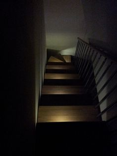 light your stairs with Ikea Oleby led, double sided tape and magnets