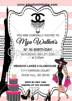576379a0790ec1 Coco Chanel Inspired White, Pink, Black and White Birthday Bridal Shower  Invitation with Chanel Logo for all occasions with Chanel logo personalized  to your ...