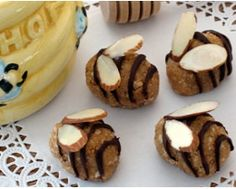 Honey Bee Treats - made with peanut butter rice crispie treats with chocolate and almond wings - using egg forms from deviled eggs
