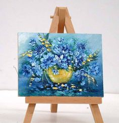 Blue Flowers 3x4 original miniature oil painting stand