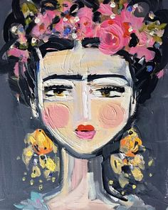 Fine Frida various sizes Watermark will not appear on your print. PRINT of original painting by Maren Devine. Allowed about 7-10 days for the larger prints. White border on all sides. Beautiful color and quality print. Canvas print has 1 3/8 sides that are same pink as flowers, hangers in back and beautifully finished out. Frida Kahlo in a stylized version, original painting had a lot of texture, so that feel shows up in prints. Questions, just ask!! Original art becomes property...