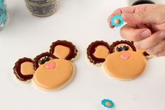 Monkey Cookies-How to attach Royal Icing Transfers by the bearfoot baker.com